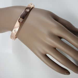 Jewelry - Rose Gold Bangle Bracelet with Faux Crystal